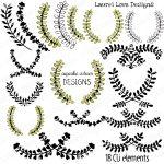 Laurel Love Digital Clip art Frames and Tags