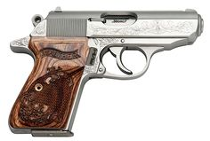 """This fabulous little Walther PPK/S features factory engraving throughout its stainless steel slide, frame, and grips. It is chambered for .380 ACP. The Walther became known to millions on the silver screen in the James Bond """"007"""" movies, but you don't have to be a secret agent to enjoy this pistol for gun collecting or concealed carry."""
