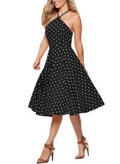 207f11a8cd95 Sidefeel Halter Sleeveless Flared Vintage Affordable Dresses, Affordable  Fashion, Vintage Dresses Online, Vintage