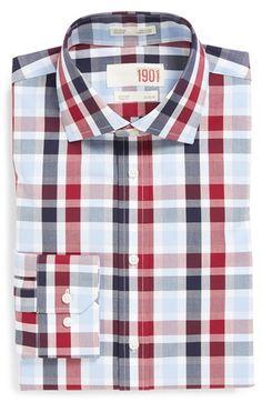 Men's 1901 Trim Fit Non-Iron Check Dress Shirt