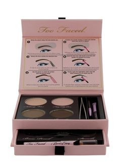 Too Faced Brow Envy Kit: Jealous of the perfectly arched brows in the magazines? With Too Faced Brow Envy Kit, you too can have those gorgeous brows. The kit includes two stencils and tweezers to achieve the perfect arch, two shades to create your own customized brow color, and a setting wax for stay-put brows.