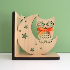 Night Owl Wooden Bookend -  Our original handcrafted Night Owl Wooden Bookend is charming woodland decor in any modern baby nursery, children's room or cute home office setting.