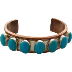 """Big Copper Sterling Turquoise Cuff Desert Rose Trading Co. 7"""""""