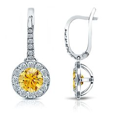 Platinum Round Yellow Diamond Dangle Halo Earrings (1/2 - 3 ct Yellow O. White I1-I2)...
