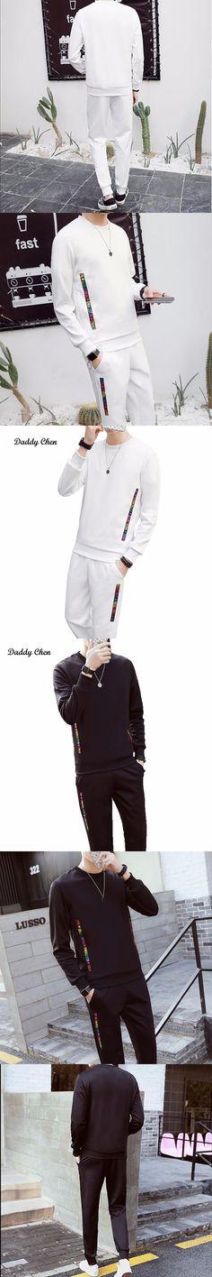 2017 Men's sets casual male two piece sets fashion streetwear tracksuit for men black white letter hip hop style set hombre