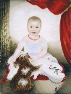 Mrs. Moses B. Russell (Clarissa Peters) (1809–1854) Baby with Rattle and Dog. MET NY