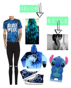 """""""Rainbow tag-blue"""" by daydreamer889900 ❤ liked on Polyvore featuring Converse"""