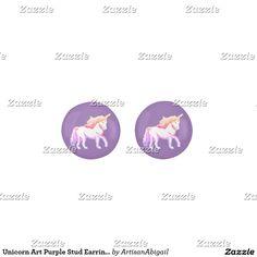 Unicorn Art Purple Stud Earrings; ArtisanAbigail at Zazzle