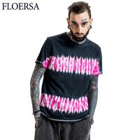 FLOERSA 2017 New Tie Dye T Shirt Rock and Roll T-Shirt Men Short Sleeve Fashion Brand Streetwear Top Tees #FL51345