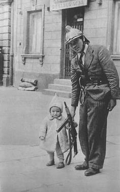 Warsaw Uprising - Soldier and child, pin by Paolo Marzioli Visit Source Bukowski, Warsaw Ghetto Uprising, Poland Ww2, Jewish Ghetto, Russian Revolution, Red Army, World War Two, Wwii, Crime