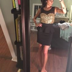 Selling this Holiday Gold sequin and black party dress on Poshmark! My username is: soniat01. #shopmycloset #poshmark #fashion #shopping #style #forsale #Foreign Exchange #Dresses & Skirts