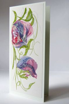 Flower orginal watercolour card / Blank birthday  card Sweet Pea by IngaDesignShop