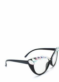 Stunning Gem Brow Cat Eye Glasses For Women