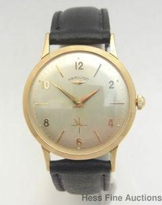 High Grade 22J Hamilton 14k Gold Vintage 1950s Mens Watch #Hamilton