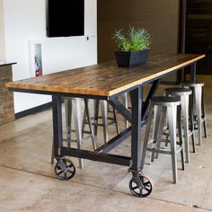 The best ways to Choose The Pub Table That Is Right For You Kitchen Island Furniture, Industrial Kitchen Island, Industrial Table, Kitchen Islands, Rustic Table, Industrial Furniture, Industrial Interior Design, Industrial Interiors, Kitchen Design