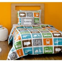 TRANSPORTATION MULTI DUVET SET,$156.00