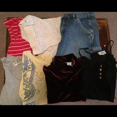 Bundle of woman's clothes (7 items) Short sleeve shirt- Size 8/10; Knitted shoulder sweater - Size 8/10; Jean shorts - Size 9; **Size Large: 3- short sleeve shirts; 1- tank. All gently worn. No fancy name brands. Other
