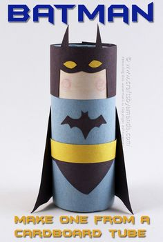 Cardboard Tube Batman By Amanda Formaro Of Crafts By Amanda Toilet Paper Roll Crafts Toilet