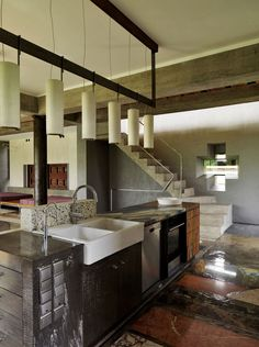 Kitchen, Stairs, House of Poshvykinyh Architects Near Moscow