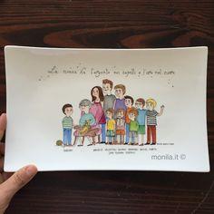 Monila handmade,porcellana,dipinto a mano,famiglia,nonna,nipoti,Illustrazione,personalizzato,regalo