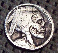 Hobo Nickel Skull #77 No Date Buffalo Hand Carved Coin By Patrick Shanahan