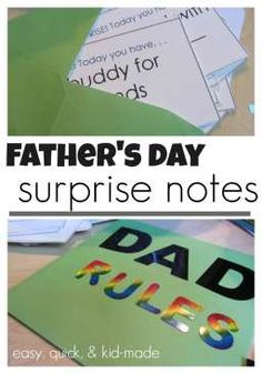 quick, easy father's day surprise notes: kid-made and dad-approved | free printable for last-minute gift dad will LOVE
