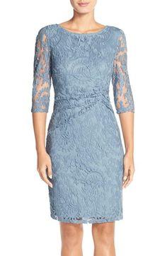 Main Image - Adrianna Papell Ruched Lace Sheath Dress (Regular & Petite)
