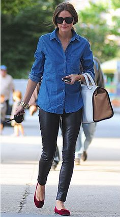 Olivia Palermo in leather leggings, oxblood loafers, and chambray shirt