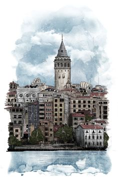 Istanbul Illustration for Trendsetter Mag on Behance zeichnungen Istanbul Wallpaper, City Wallpaper, Galaxy Wallpaper, Watercolor Illustration, Watercolor Art, City Illustration, Niche Design, Turkish Art, Nature Pictures