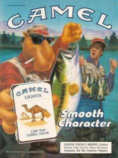 1990 Joe Camel Cigarettes Ad Goes fishing and catches a whopper Vintage Cigarette Ads, Vintage Ads, Vintage Posters, Old Advertisements, Retro Advertising, Luhan, Cigarette Aesthetic, Pin Up, Vintage Illustrations