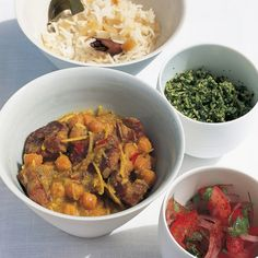 Spiced lamb curry with chickpeas, green coconut sambal and tomato and red onion pickle