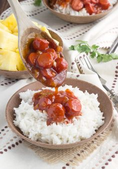 BBQ Hot Dogs over Rice - A simple, under 30 minute meal with hot dogs in a homemade sweet BBQ sauce served over white rice.