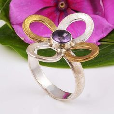 925 SOLID STERLING SILVER EXCLUSIVE AMETHYST RING 5.98g DJR5934 #Handmade #Ring