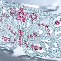 Tiara in platinum with a butterfly motif of pink spinels and diamonds. #TiffanyPinterest #TiffanyBlueBook #pink