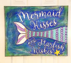 This beautiful mermaid mixed media canvas art will make you giddy!! Colorful hand painted wall decor will brighten up the room! This home decor canvas measures at 16x20