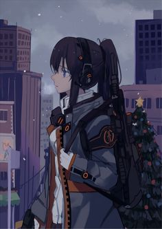 1girl black_hair blue_eyes christmas_tree gloves gun headphones hfp~kubiao highres jacket looking_at_viewer original ponytail rifle sniper_rifle snowing solo weapon white_gloves