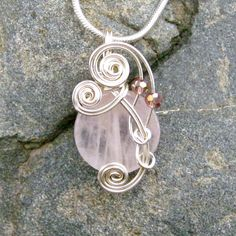 Pink Rose Quartz Wire Wrapped Pendant Necklace in Silver by CareMoreCreations.com, $29.00