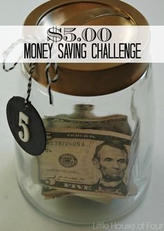 How our family saves more and spends less by using cash and a $5.00 money saving challenge.