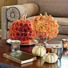 Cute fall decorating idea —flower pumpkins!
