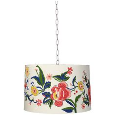 """Embroidered Floral 16"""" Wide Brushed Steel Shaded Pendant - #5T574-2K387   Lamps Plus"""