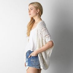 American Eagle Crochet Open Cardigan (52 CAD) ❤ liked on Polyvore