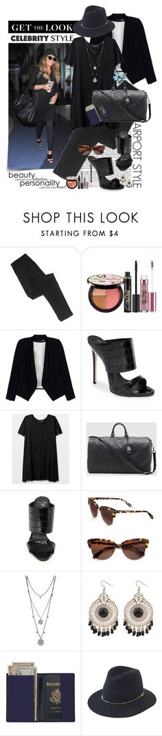 """""""Get the Look: Celebrity Airport Style: Chrissy Teigen"""" by shortyluv718 ❤ liked on Polyvore featuring Too Faced Cosmetics, Alice + Olivia, Giuseppe Zanotti, Talula, Gucci, Oliver Peoples, Vince Camuto, Royce Leather, Janessa Leone and celebairportstyle"""