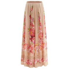 Alberta Ferretti Pleated Floral Silk Maxi Skirt (5,980 AED) ❤ liked on Polyvore featuring skirts, pleated skirt, red skirt, long pleated skirt, long floral skirts and feather skirt
