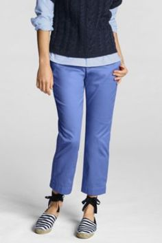 Women's Regular Fit 2 Stretch Chino Demi-Boot Crop Pants from Lands' End in ironic nantucket red.
