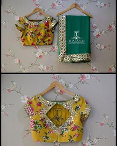 Sold Chiffon saree with a Floral mirror hand worked blouse For orders/queries Call/ what's app us on 8341382382 Mail us… Wedding Saree Blouse Designs, Fancy Blouse Designs, Blouse Neck Designs, Traditional Blouse Designs, Mirror Work Blouse Design, Hand Work Blouse, Stylish Blouse Design, Designer Blouse Patterns, Blouse Models