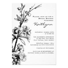 Black Floral on White Bridal Shower Invitation