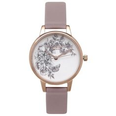 Olivia Burton Animal Motif Butterfly Watch - Grey Lilac & Rose Gold ($100) ❤ liked on Polyvore featuring jewelry, watches, olivia burton, rose gold jewelry, rose gold jewellery, gray watches and leather strap watches