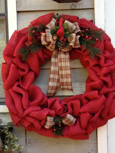 Red Burlap Christmas Wreath with red bird by PGALaCarteArt on Etsy, $58.00