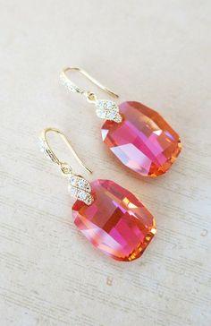 Swarovski Astral Pink Crystal Drop Earrings, Gold Cubic zirconia earrings, gifts for her, Bridesmaid Earrings, Bridal Jewelry, www.glitzandlove.com