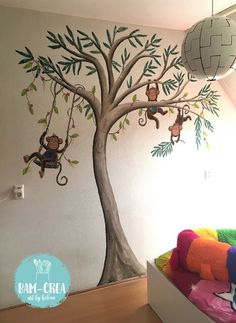 Muurschildering Aapjes - bam-crea Home Decor, Decoration Home, Room Decor, Home Interior Design, Home Decoration, Interior Design